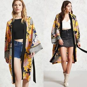 Forever 21 belted floral long line kimono